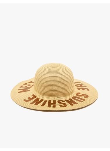 Koton Koton Yazılı Hasır Beyaz Şapka Beyaz